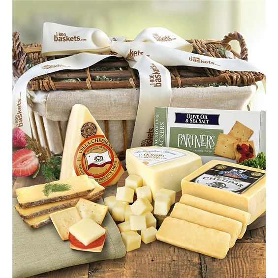 Greatfoods Country Fresh Cheese And Crackers Gift Basket With Cheese Knife