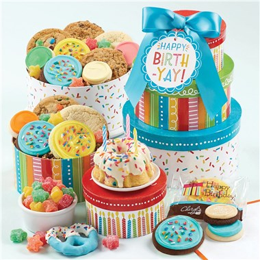 Cheryl's Cookies Birthday Cake And Candy Cookie Gift Tower